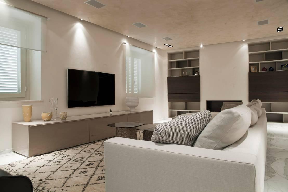 22 dise os de salas de tv para casas modernas for Figuras en draibol para sala