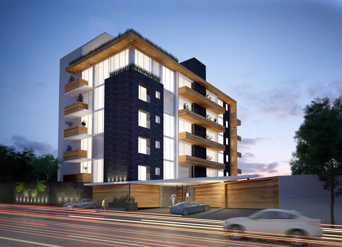 Edificio de departametos de arq erick ochoa homify for Edificios modernos de departamentos