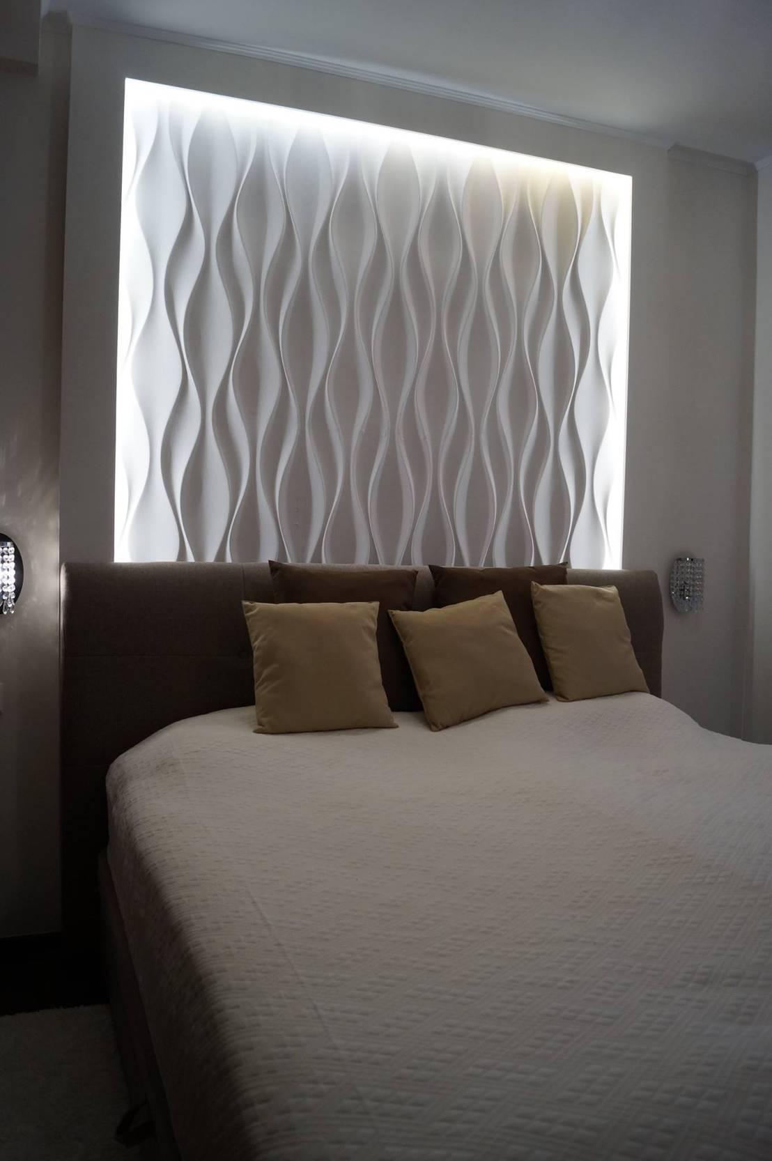 schlafzimmer wandgestaltung mit 3d effekt und betonlook by. Black Bedroom Furniture Sets. Home Design Ideas