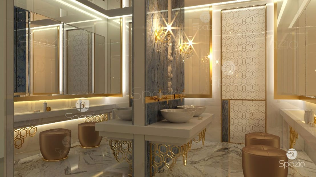 Modern luxury master bathroom interior design and decor in dubai uae and middle east by spazio for Interior designer to the stars