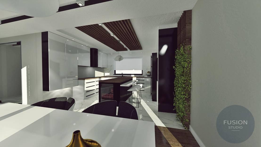 Fusion Design Keuken : Czarno biała kuchnia door fusion projektowanie i aranżacja
