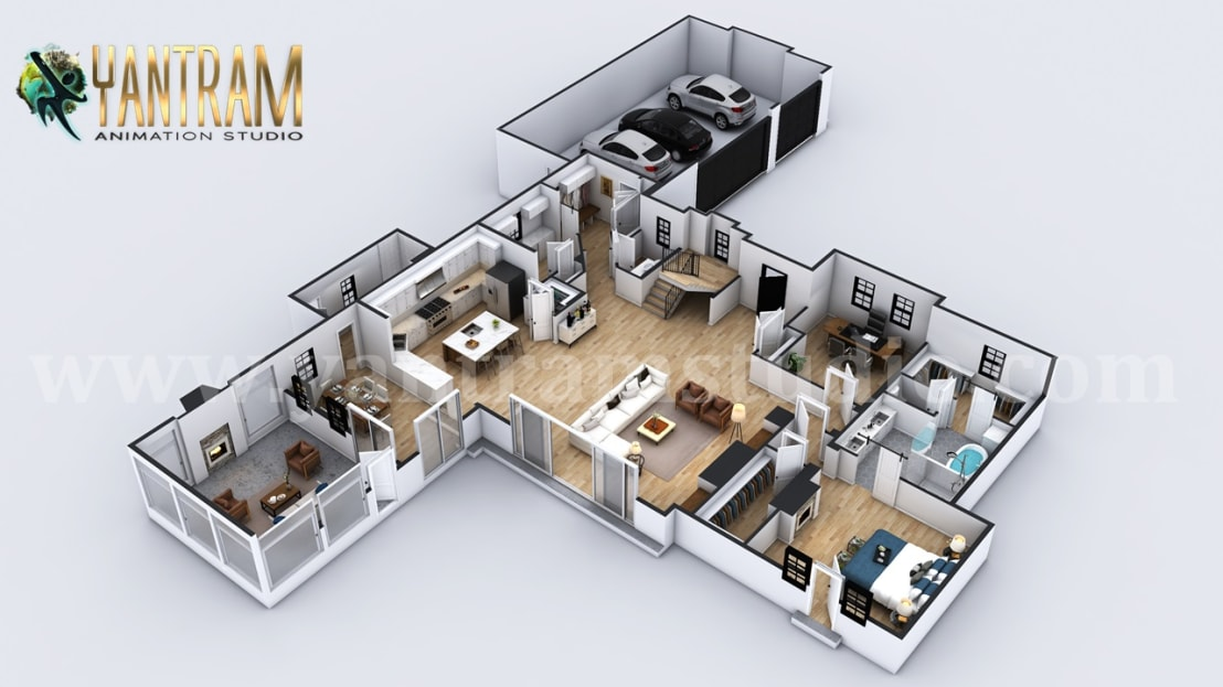 4 Bedroom Simple Modern Residential 3d Floor Plan House Design By Architectural Rendering Company Liverpool Uk Homify