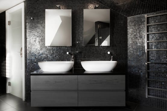 Black and white advice for monochrome styling for Carrelage petite salle de bain sans fenetre