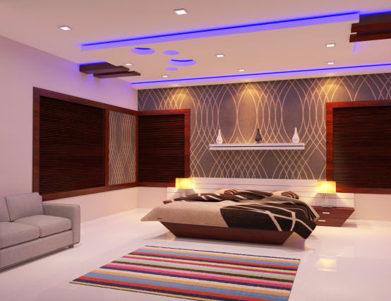 9 incredible ceiling designs for indian homes for Rectangle living room designs