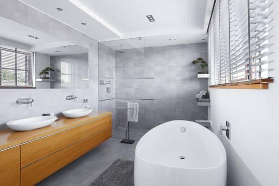 Kopf geben Das Badezimmer
