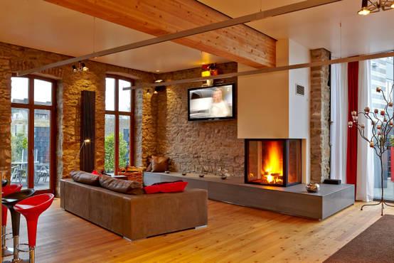 13 paredes de sala de estar com recuperadores de calor for Chimeneas en apartamentos pequenos