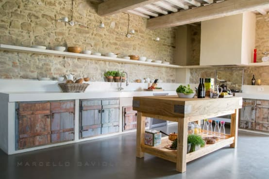 7 Bellas cocinas con pared de piedra