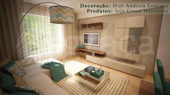 Projecto de Decoração sala by Andreia Louraço Design e Interiores