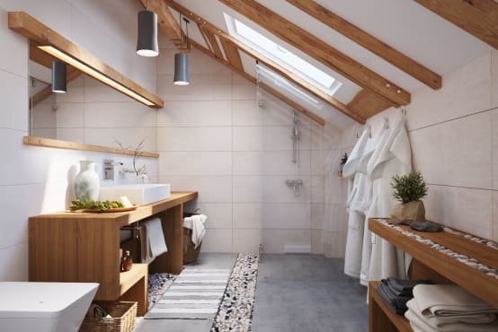 Badkamer Hout Natuursteen : Wow schitterende badkamers met hout natuursteen