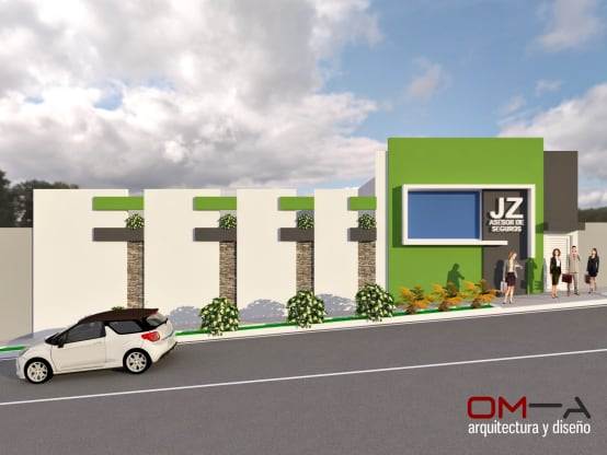 Diseño de fachada de edificio de oficinas