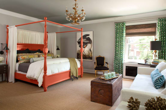 How to use a four poster bed canopy to good effect