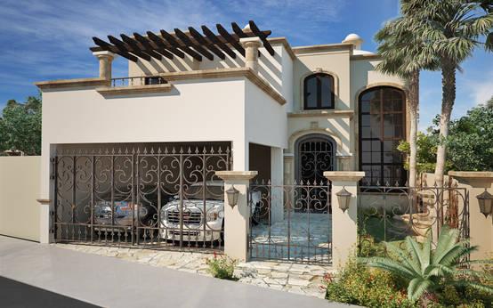 Moderna con toque colonial esta casa te va a encantar for Fotos de fachadas de casas estilo californiano