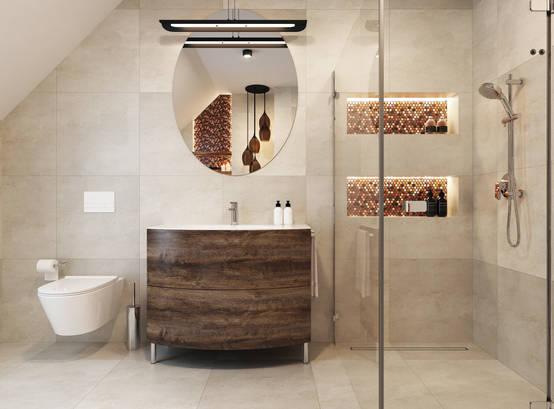 Neutral bathroom decor makes for a calming retreat