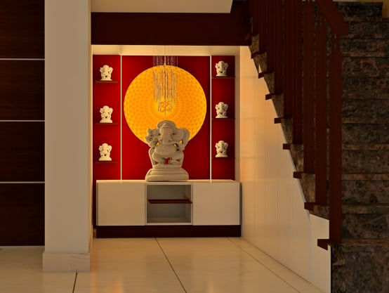 7 beautiful mandir designs for indian homes for Design of mandir in living room