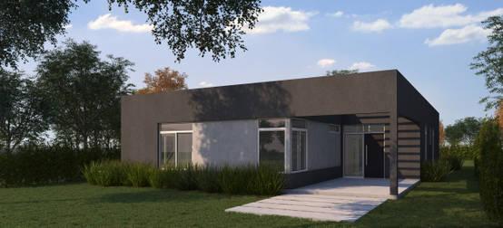 Una casa minimalista con un funcional patio interior for Render casa minimalista