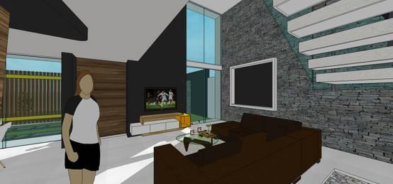 Sala. Vista de ventanal a doble altura