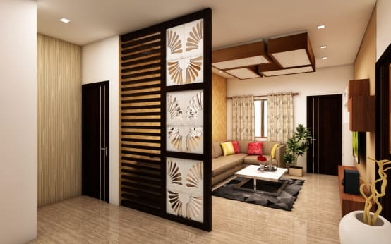 A stunning 3700sqft home worth lakhs in hyderabad for Living room partition designs in indian