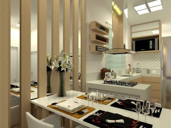 Projeto de interiores simples elegante para apartamento em Salinas/MG