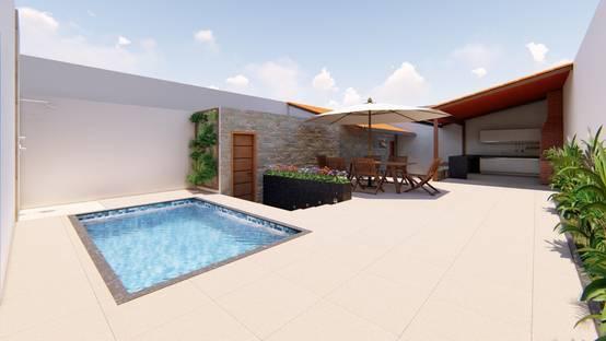 Projeto de arquitetura e paisagismo para área gourmet com piscina em Belo Horizonte