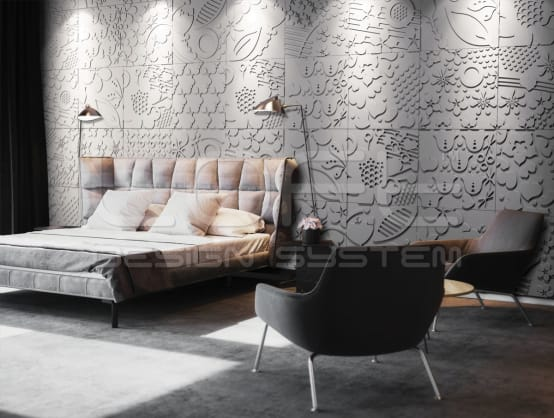 3d wandpaneele aus floralen mustern the best house. Black Bedroom Furniture Sets. Home Design Ideas