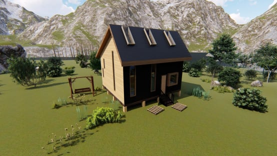 Diseño de casa rural, estilo cabaña de 80 m2 en Coquimbo