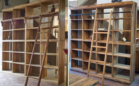 Librerie Con Scala Scorrevole In Legno.Homify