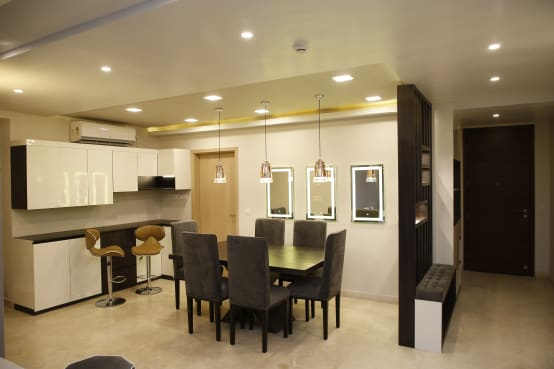 Modern Design Elements for a Dining Room in a Kolkata Apartment