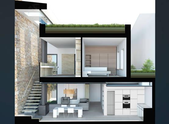 Una moderna casa unifamiliar entre medianeras en Girona