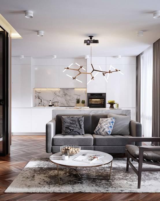 Дизайн интерьера однокомнатной квартиры 50 кв. метров | homify