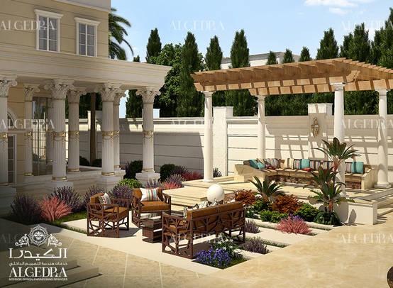 Dış salonlu lüks villa bahçe tasarımı