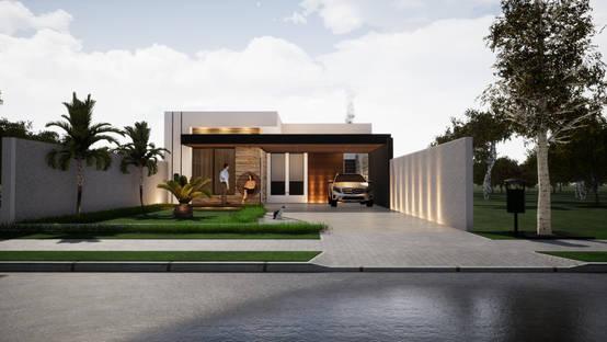 Projeto em 3D de casa moderna e funcional em São José dos Pinhais/PR | homify | homify