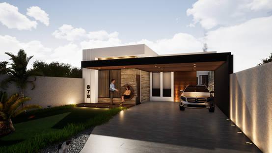 Projeto de casa térrea moderna em São José dos Pinhais/PR