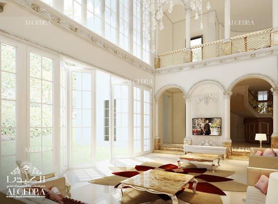 Classic style luxury living room design in Abu Dhabi