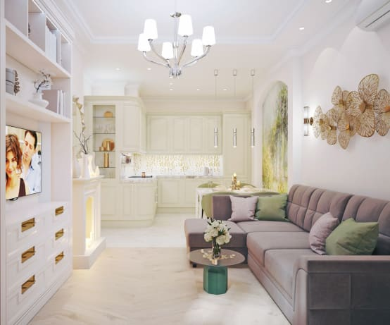 Дизайн-проект трехкомнатной квартиры в стиле неоклассика | homify