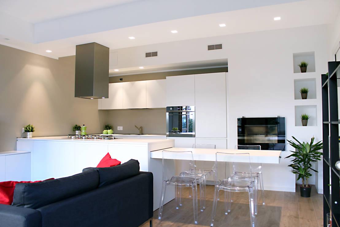 Cucina e soggiorno divisi ma senza pareti mai cos facile for Piccoli piani di casa francese