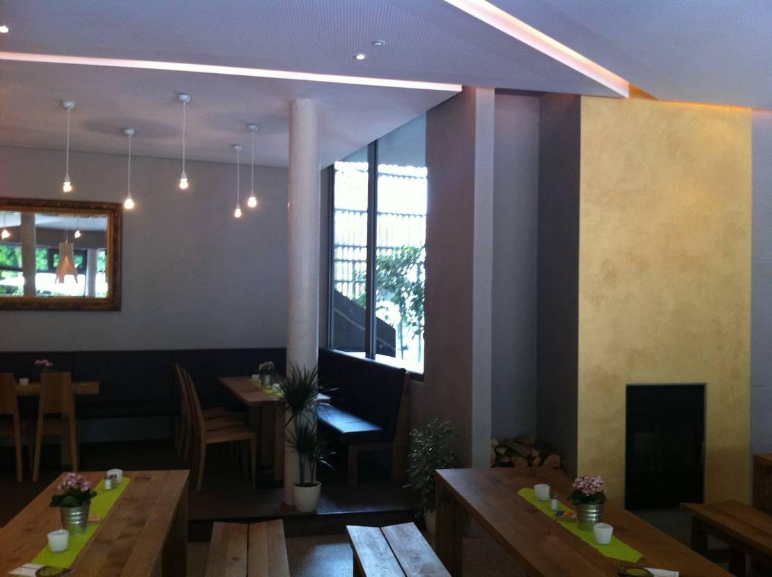 restaurantgestaltung betonlook mit goldakzent von jakob. Black Bedroom Furniture Sets. Home Design Ideas