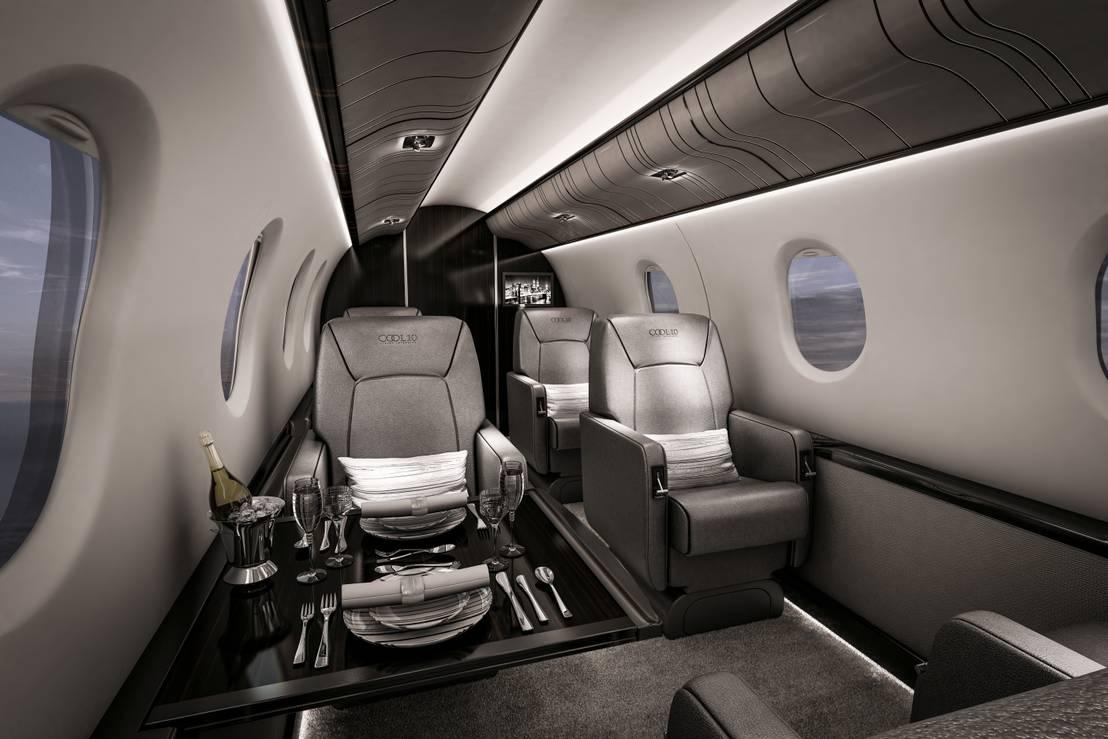 vers de nouveaux sommets design d int rieur d un jet priv. Black Bedroom Furniture Sets. Home Design Ideas