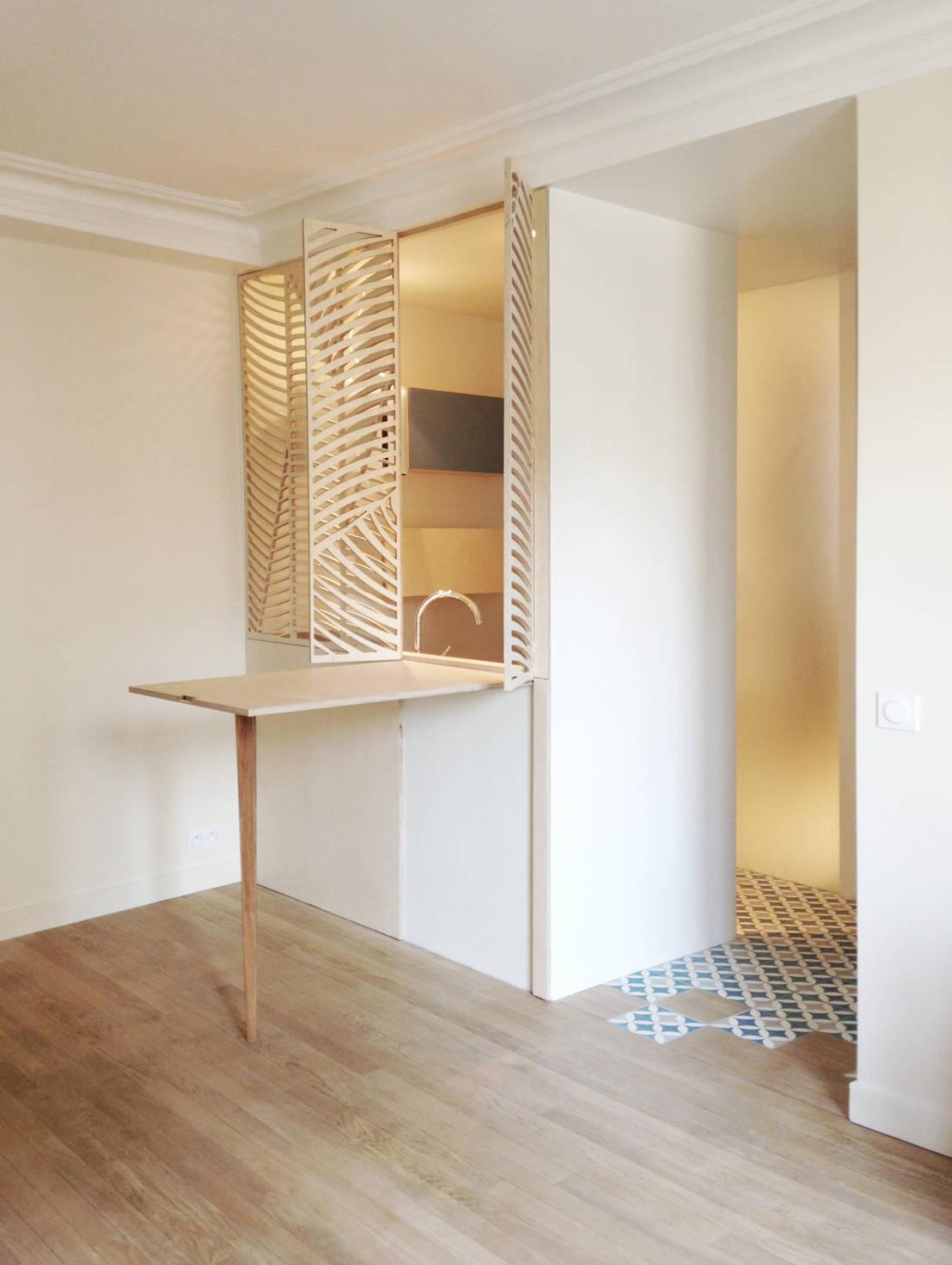 Il progetto salvaspazio di un mini appartamento di 50 mq for Mini case interni