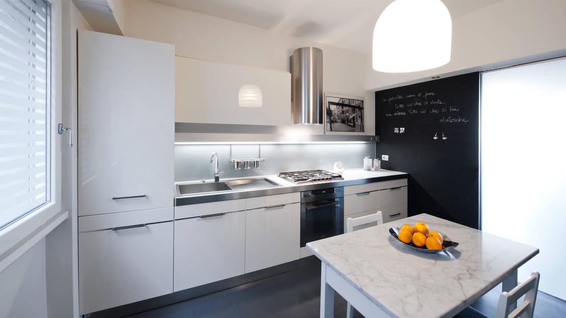 Cucina a parete con penisola o con isola 3 cucine a - Cucina lineare 3 metri senza frigo ...