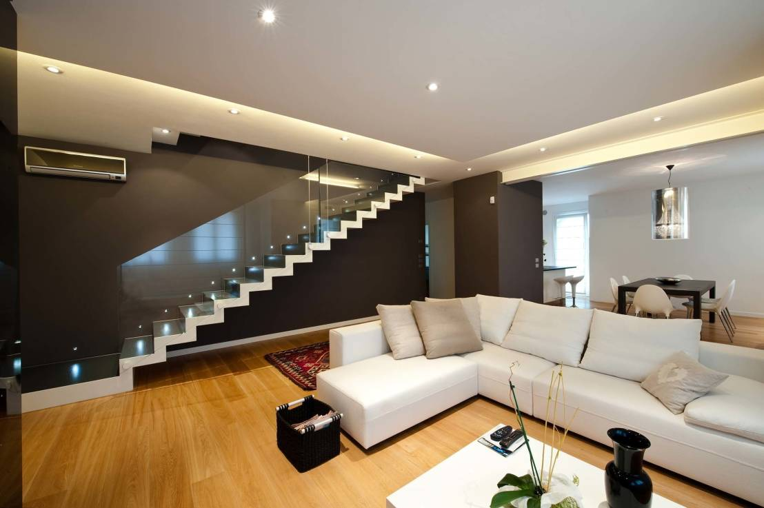 treppen als eyecatcher im wohnzimmer. Black Bedroom Furniture Sets. Home Design Ideas