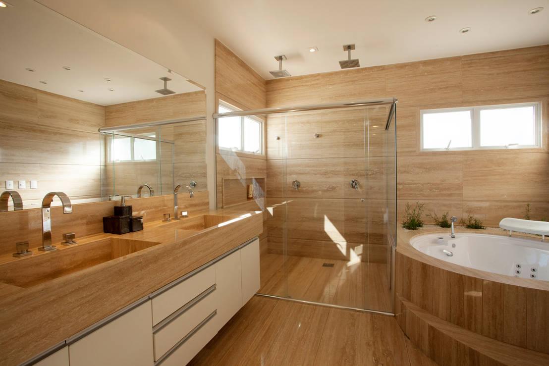 Ba os diez lavamanos dobles espectaculares for Living de madera modernos