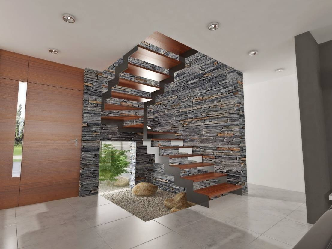 Casas modernas 8 ideas con piedra laja para decorar tus for Ideas para hacer escaleras interiores