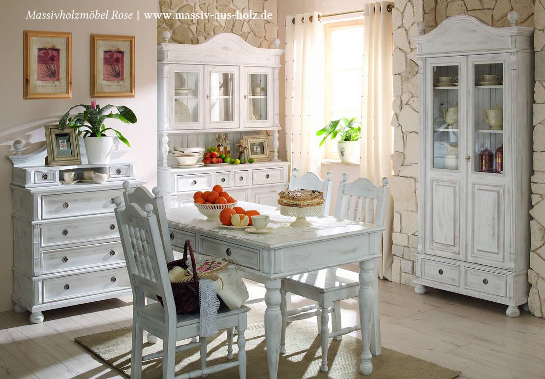 Landhausmoebel | Shabby Chic Alt weiß von Massiv aus Holz | homify