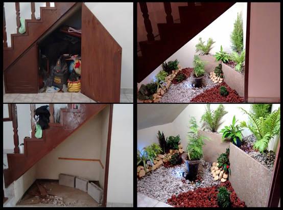 28 maneiras de fazer um pequeno jardim debaixo da escada for Bajos con jardin en pozuelo