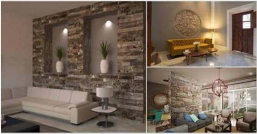 16 formas preciosas de revestir las paredes del living con for Piedra para decorar paredes interiores