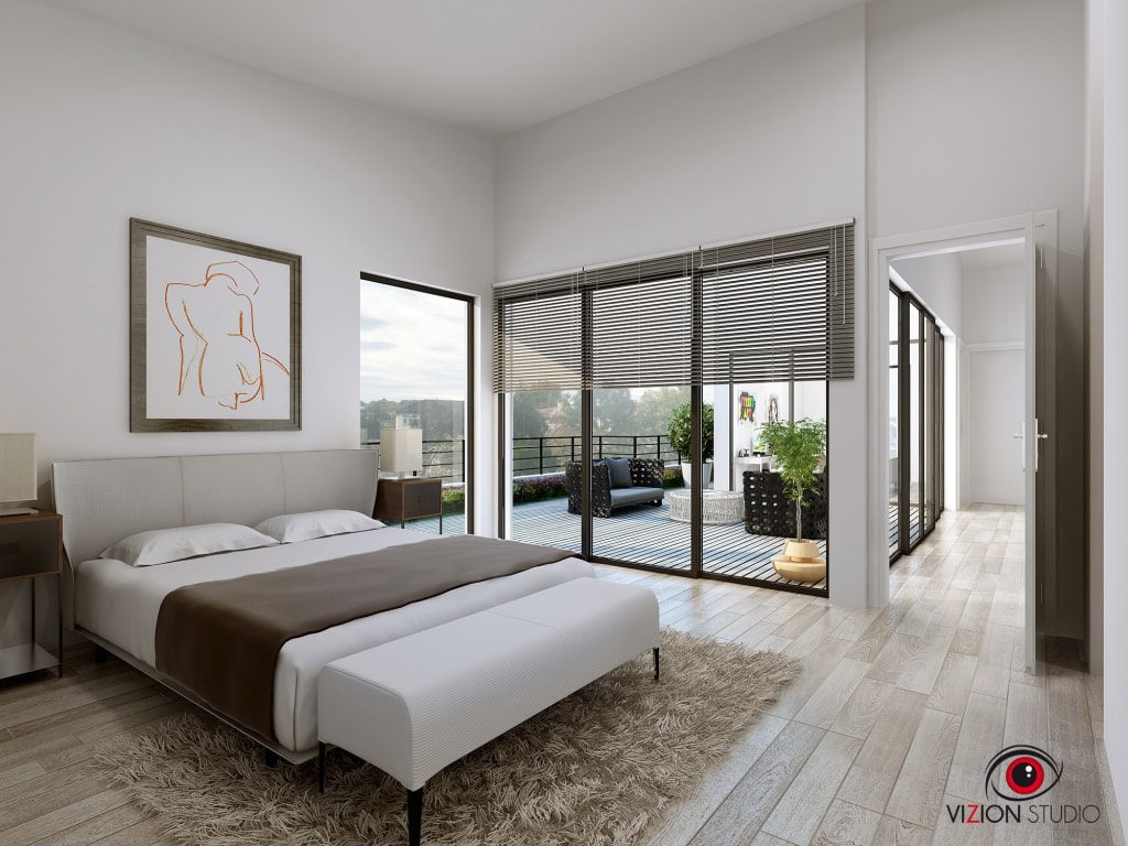 perspective 3d chambre parentale pour la commercialisation d 39 une maison individuelle chambre de. Black Bedroom Furniture Sets. Home Design Ideas