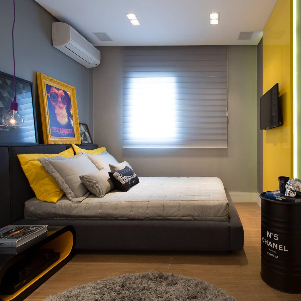Fotos de quartos quarto despojado amarelo homify ~ Quarto Solteiro Cinza