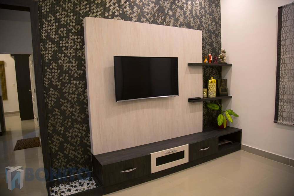 Asian Living Room Photos Tv Unit Design With Wallpaper And Backpanel Homify