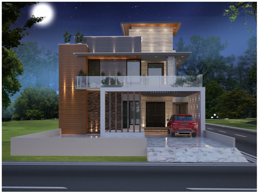 Front elevation of residential project : houses by moon arc