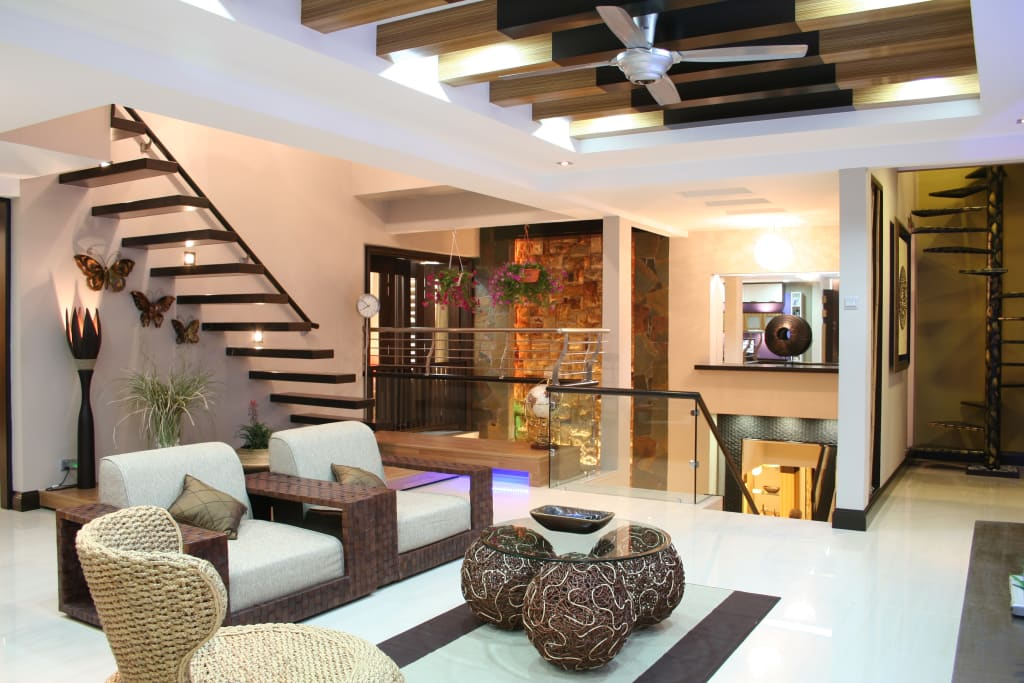 Tropical Retreat Semi Detached Living Room By Design